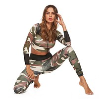Camouflage Women Two Piece Sets High Waist Wrist Mesh Tracksuit For Women Fitness Printing Casual Fitness Sets Outfits For Womem