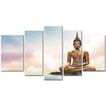 5 Pieces Modern Buddha Bangkok Temple Sculpture Painting On Canvas - 2 Size Options