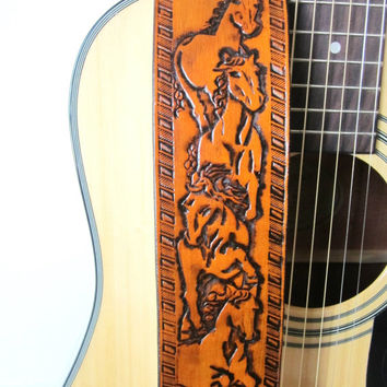 Hand Tooled  Leather Guitar Strap Horse Design, Western Guitar Strap, Leather Guitar Strap, Wild Horses