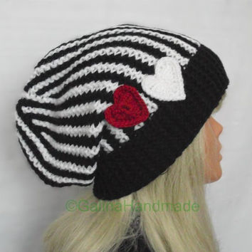 Slouchy Beanie Slouch Hats Oversized Baggy Cabled Hat Fall Winter Accessory Men Women Teens Girl Boy Wool Black White With Hearts Unisex