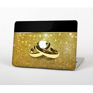 The Gold Glitter with Intertwined Rings Skin for the Apple MacBook Air 13""