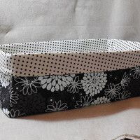 Large Black and White Floral Fabric Basket