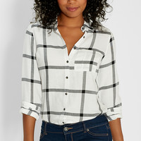 button down shirt in large scale black and white plaid