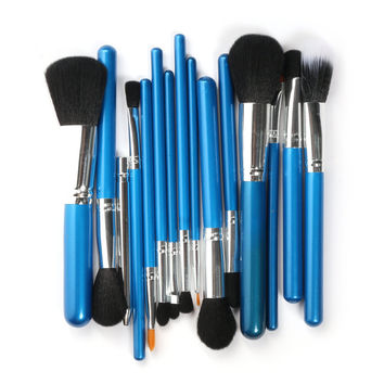 15pcs Makeup Brushes Set (Blue)
