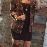 Penny Plaid Flannel Top: Rust/Ivory