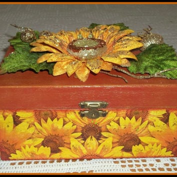 Handcrafted wooden jewelry box in decoupage technique - Christmas or Birthday gift idea