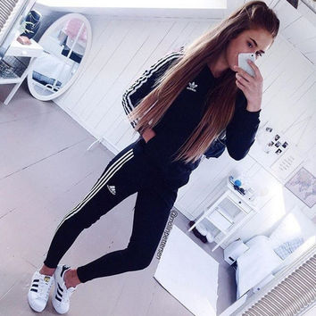 Adidas Fashion Print Leisure Sports Long Sleeved Sweatshirt Sweatpants Set Two-Piece
