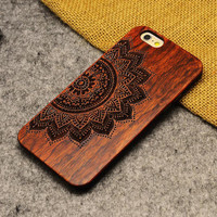 Mandara Flower Wood Case Wooden New Cover Carving Patterns Wood Slice Plastic Edges Back Cover for Iphone 6 case iPhone 6 Plus