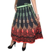 Mogulinterior Bohemian Long Skirt Cotton Printed Indi Designer Hippie Gypsy Womens Skirts
