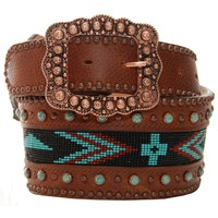 Double J Ladies Brown Beaded Inlay Belt