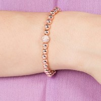Pave Fireball with 6mm Rose Gold Caviar Bead Stretch Bracelet