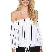 Striped Slash Neck Blouse