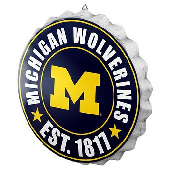 Michigan Wolverines Man Cave Bottlecap Wall Sign
