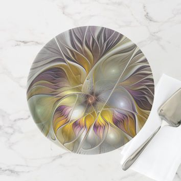 Abstract Colorful Fantasy Flower Modern Fractal Cake Stand