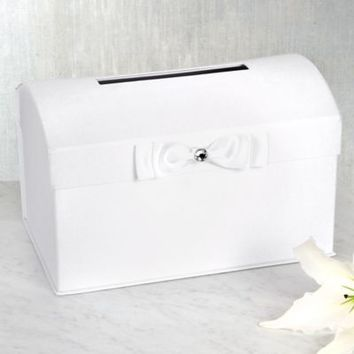 White Wedding Card Holder Box with White Bow 8in | Party City