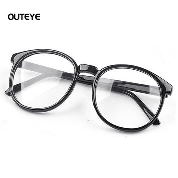 outeye women vintage glasses frame plain mirror harajuku round o
