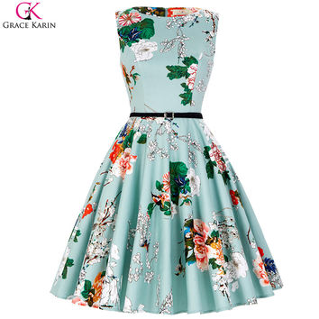 Grace Karin Cocktail Dresses 2017 Short Party Dress Summer Vestido Vintage 50s Polka Dot Floral Swing Pin Up Pattern Formal Wear