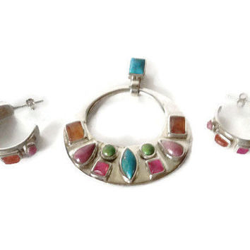 Vintage Pendant And Earring Set Barse Sterling Turquoise Multi Gem Southwest Style