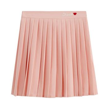 Women Pleat Skirt Harajuku Preppy Style Skirts Letter Lolita Saia Mini Cute Kawaii School Uniforms Faldas Ladies Jupe 2SK544