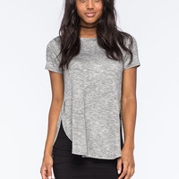 Love Fire Hachi Shirttail Womens Tee Charcoal  In Sizes