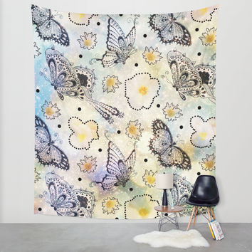 Butterfly In the Sky Wall Tapestry by Jenndalyn