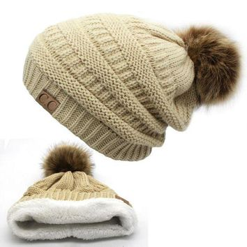 PEAPU3S 2017 hot Double layer fur ball cap pom poms winter hat for women girls hat knitted beanies cap thick female cap