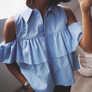 Off Shoulder Ruffles Women Blouse Short Shirts