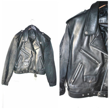 small black leather MOTO jacket / vintage 80s INSULATED hybrid bomber SATIN cropped biker jacket