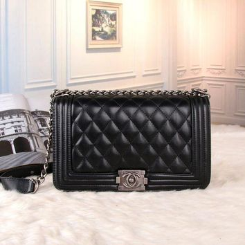 VLXZGW7 Chanel' Women All-match Fashion Simple Quilted Metal Chain Single Shoulder Messenger Bag