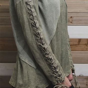 Lace Up Flare Sleeve Top - Olive