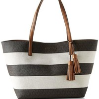 ONETOW MICHAEL Michael Kors Women's Stripe Canvas Tote Bag Brown