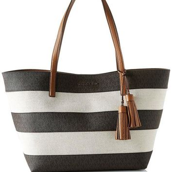 DCCKUG3 MICHAEL Michael Kors Women's Stripe Canvas Tote Bag Brown