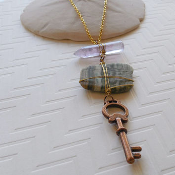 Replica Copper Skeleton Key with Amethyst Wand and Wire Wrapped Green Jasper Stone Necklace - Bohemian Fashion Necklace, Long Layering