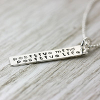 Positive Mind Positive Life - Sterling Silver Delicate Layering Necklace Hand Stamped Mantra - Inspirational - Christina Guenther