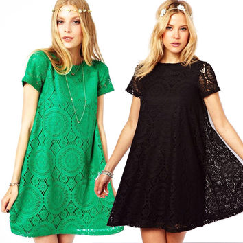 2016 Summer New Hot women floral Short Sleeve Lace Dress Lady Casual Loose O-neck Vintage Embroidery Hollow Out Dress