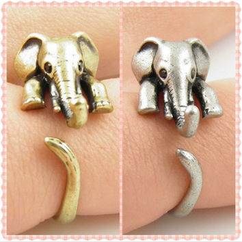 Vintage lovely Anti Silver Gold Color Adjustable Elephant Wrap Rings for Women Party Gifts Free Shipping