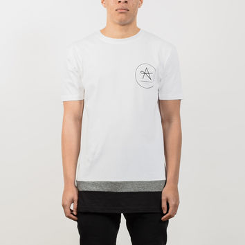 Longline Triangle Logo Cut & Sew T-Shirt - White