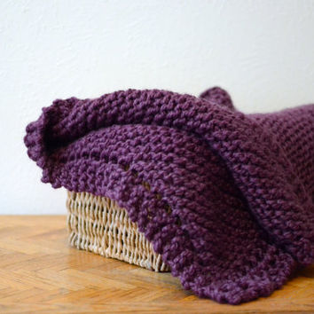 Baby Blanket // Chunky Knit Blanket // Hand Knitted Baby Blankets // Purple Girls Baby Blanket // Chunky Knit Throw Afghan // Baby Blankets