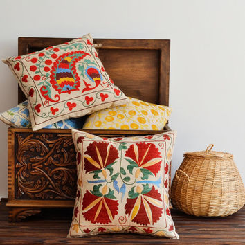 Suzani Pillow Cover - Floral Hand Embroidered Vintage Suzani Pillow Cover - Red, Maroon, Yellow, Green, Blue Pillow - 18x18 Pillow