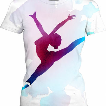 Paint splash ballet dancer silhouette girls fit t-shirt, sexy naked girl, happy dancing
