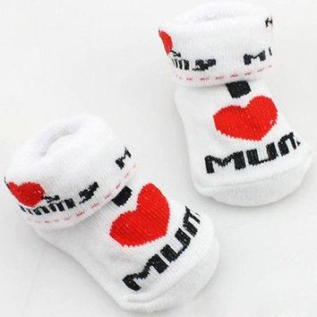 1Pair Soft  I Love Mom/Dad Newborn Baby Toddler Infant Boys Girls Cotton Socks 0 6 Months