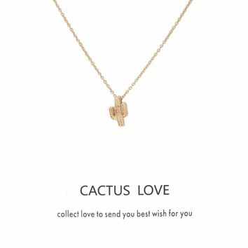 1pc Fashion Cactus Love Choker Collier Wish Card Necklaces pendant Links Chains Gold Plate For Women Statement Jewelry Gift