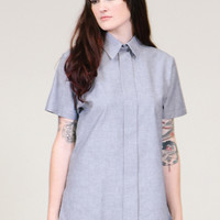 Chambray tunic - faux button up shirt