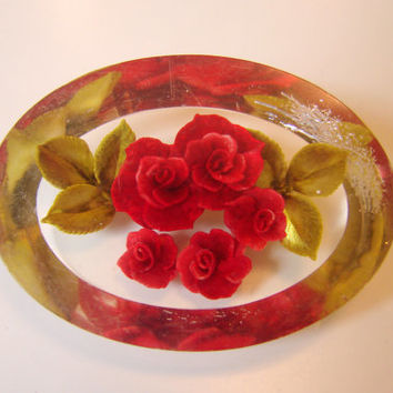 40s Clear Lucite Reverse Carved Floral Rose Bouquet Brooch / Red / Green / Vintage Jewelry / Jewellery