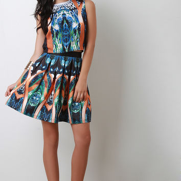 Abstract Peacock Pleated Skirt