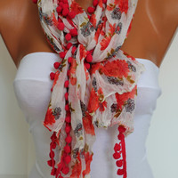 Red Floral pompom Shawl Scarf Headband Necklace Cowl