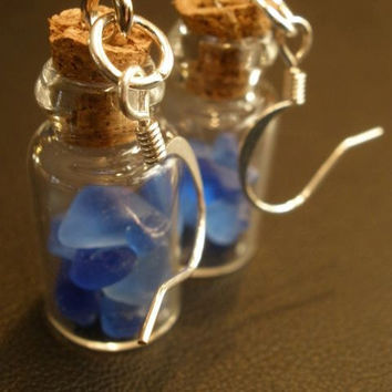 Cobalt Blue Sea Glass Message in a Bottle by OddsAndEndsByKaley