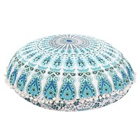 Large Mandala Floor Pillows Round Bohemian Meditation Cushion Cover Ottoman Pouf