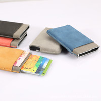 Credit Cards Holder Slim Rfid Protector Wallets Men Women PU Leather Metal Case ID Card Bag Drivers License Automatic Cardholder