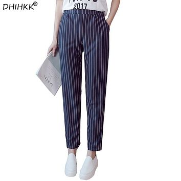 Ankle-Length Harem Pants New Arrival England Style Striped Pants Women's Elastic Waist Strip Spring Summer Trousers
